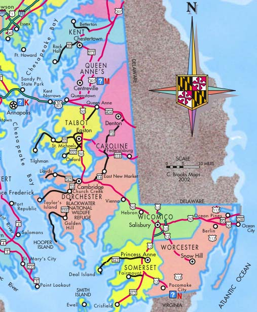 Maryland Eastern Shore Guide And Maps - Maryland maps